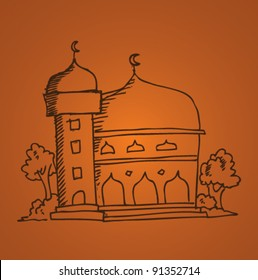 doodle illustration of mosque