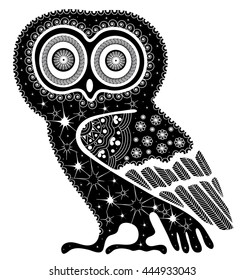 Doodle illustration on an owl. Black and white tattoo of on a white background.