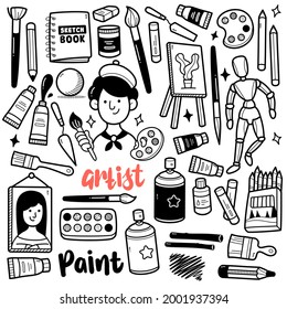 Doodle illustration of painting tools and objects such as canvas, crayon, acrylic, sketches, oil paint, spray paint, brush etc. Black and white line illustration.