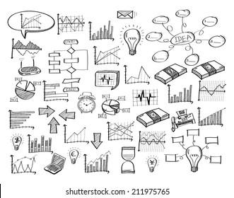 Doodle Infographic Diagram Finance Graph, Vector Illustration EPS 10.