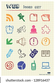 Doodle Internet web icons set drawn by color pencils. Hand drawn vector elements pack isolated on paper