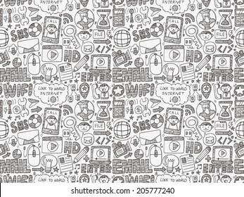 doodle internet web seamless pattern