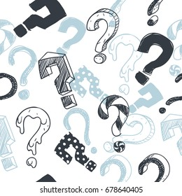 Doodle interrogation marks vector seamlles background. Endless pattern with sketch question mark. Seamless sketch pattern with question mark illustration