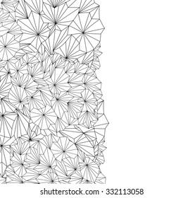 Doodle invitation card. Zentangle style frame design for card. Decorative hand-drawn vector element border.