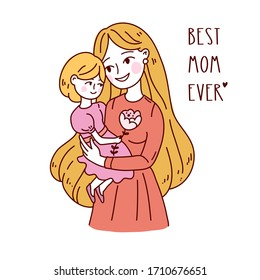 Doodle kawaii style. Cute woman vector illustrations. Happy Mother`s Day. Mother and daughter. Use for greeting card, poster, banner, and other design.
