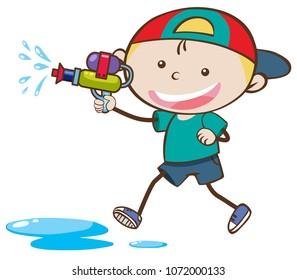 Doodle Kid Playing Water Gun illustration