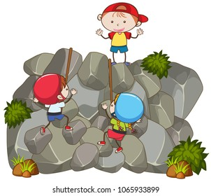 Doodle Kids Doing Rock Climbing illustration