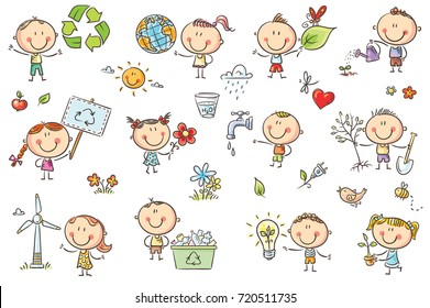 Doodle kids with ecology concepts - green energy, recycling, environment conservation, healthy lifestyle. No gradients used, easy to print and edit. Vector files can be scaled to any size.