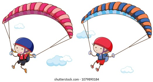 Doodle Kids Parachute on Sky illustration