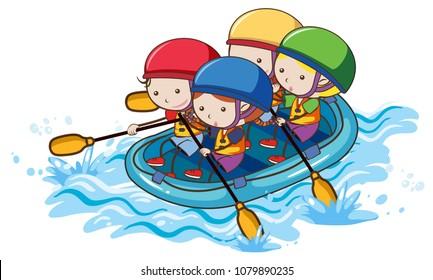 Doodle Kids Rafting on White Background illustration
