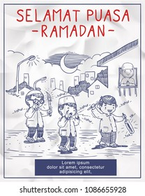 doodle kids ramadan illustration activity. Selamat puasa ramadan means happy ramadan fasting