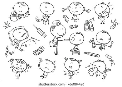 Doodle kids suffering from different illnesses like flu or headache., black and white outline