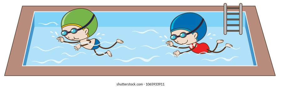 Doodle kids Swimming in the Pool illustration