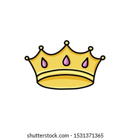 Doodle king crown. Color symbol of greatness, victory, superior quality. Hand drawn vector illustration with black contour for design badges and stickers. Simple emblem for printing on t-shirt