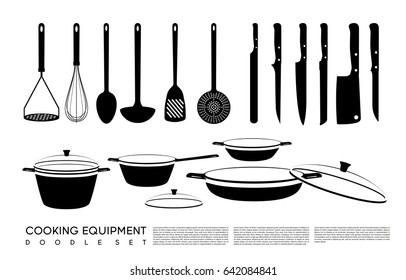 Doodle kitchen equipment set with cooking tools knives saucepan pan and pots isolated vector illustration