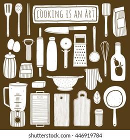 Doodle kitchen set. Hand drawn kitchenware and utensils. Vector elements for kitchen design. Cooking equipment