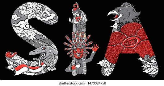 doodle komodo flower and garuda indonesia illustration