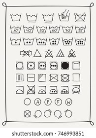 Doodle laundry symbols. Hand drawn scribble washing icons. Clothing and fabric maintenance instructions. Graphic design elements - tumble dry, hand and machine wash, dry cleaning, Vector illustration.