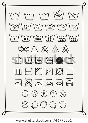 Doodle Laundry Symbols Hand Drawn Scribble Stock Vector Royalty