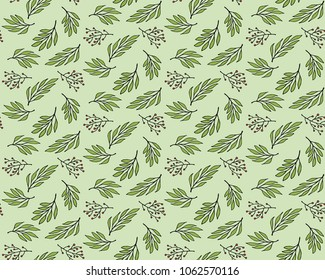 doodle leaf seamless pattern, fabric background