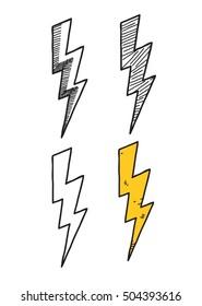 doodle lightning set of vector