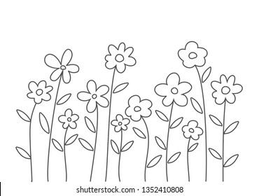 Doodle line art doodle flowers on white background. Vector illustration.