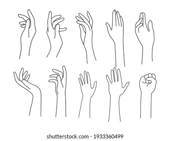 doodle line art illustration of hand in various relaxing pose