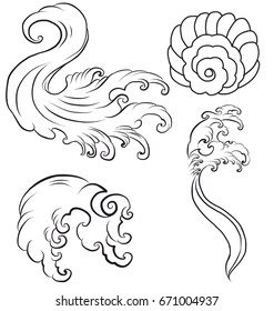 Doodle and line art Japanese wave for tattoo. Hand drawn isolate on white background.Water Splash vector set.