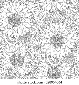 Doodle line art seamless pattern with sunflowers. Hand drawing floral indian background in vector. Ayurveda collection