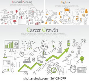 Doodle line design of web banner templates with outline icons of time management, career growth,big idea, creative thinking. Modern vector illustration concept for website or infographics.