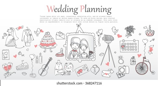 Doodle line design of web banner template with outline cartoon wedding icons. Wedding Planner Icons, Infographics and invitation.