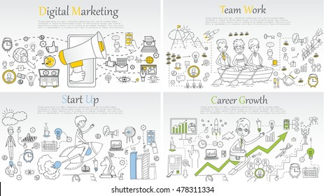 Doodle line design of web banner templates with outline icons of start up, digital marketing, team work, career growth,.Vector illustration concept for website or infographics.