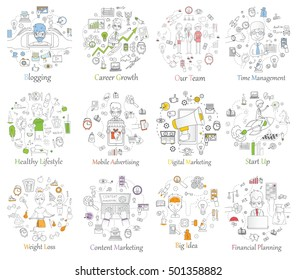 Doodle line design of web banner templates with outline icons of start up,digital marketing, mobile advertising team work, career growth, healthy lifestyle and time management.