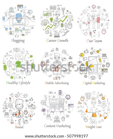 doodle line design web banner templates stock vector royalty free