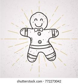doodle line gingerbread man vector