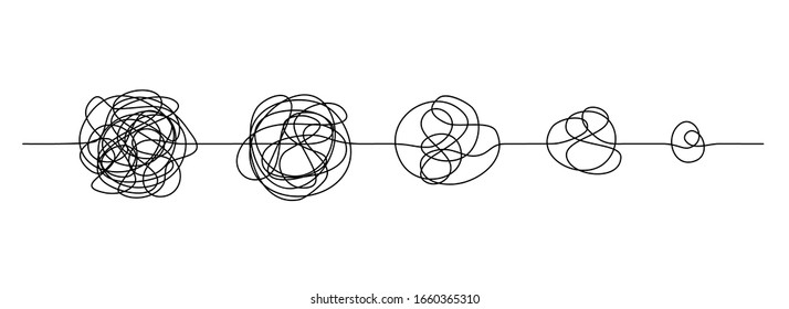 Doodle line knot. Messy hand drawn lines, chaos to simplicity and confusion to clarity concept. Vector illustration curve idea, thought process and multiple solutions