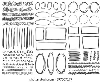 Doodle lines and curves vector. Set of simple doodle lines, curves, frames and spots. Pencil effect collection. Doodle borders. Set of simple doodles. Pencil effect sketch isolated on white.