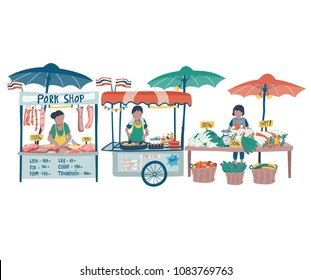 Doodle local food market in Thailand with pad thai food stall, pork shop, and vegetables vendor, all on white background, illustration, vector