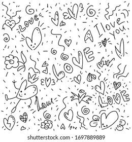 doodle love. Valentine's pattern. Black-white background.