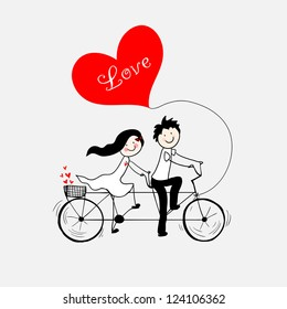 Doodle lovers: a boy and a girl riding tandem bicycle.