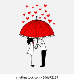 Doodle lovers: a boy and a girl under umbrella.