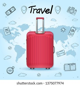 doodle luggage and accessories travel around the world concept summer banner. plane check in Invitation on blue bokeh Background. content paper art, vector, Card, Poster, Hand Draw