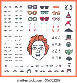 Doodle man face bundle. Hand drawn constructor. Eyes, eyebrows, mouthes, noses, chicks, eyeglasses, beards, moustaches. Cartoon vector set.