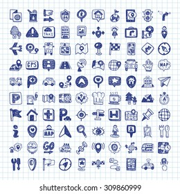 doodle map GPS Location icons