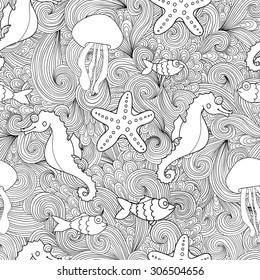 Doodle marine life seamless pattern. Zentangle wavy background.