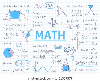Doodle math. Algebra and geometry school equation and graphs, hand drawn physics science formulas. Vector image formulas education sketch for student homework