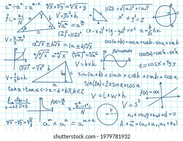 Doodle math formulas. Handwritten mathematical equations, schemes on notebook squared paper. Algebra or geometry calculations vector set. College, school or university lecture notes