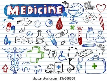 Doodle Medicine icons, vector illustration