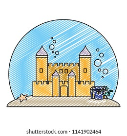 doodle medieval castle with coffer under water