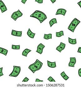 Doodle money rain. Hand drawn Dollar bills seamless pattern. Dollars flying.